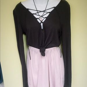 Crystal necklace, tie top and skirt!